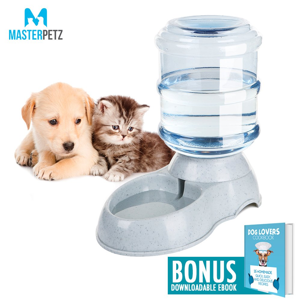Automatic Dog Water Dispenser Station for Small and Medium Dogs Cats Pets Puppy Kitten with 1 Gallon Bottle Bowl Capacity Replendish Gravity Waterer Safety Twist Mouth Ring with Dog Lovers Cookbook