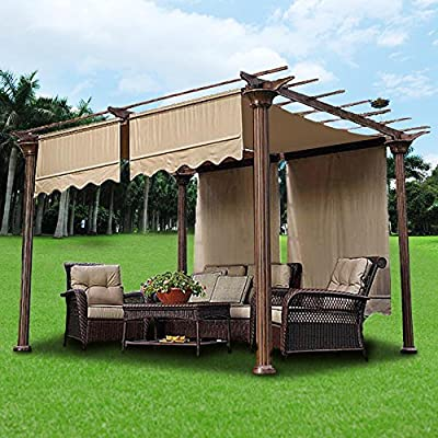 Yescom 2 Pcs 15.5x4 Ft Canopy Cover Replacement with Valance for Pergola Structure Tan : Garden & Outdoor