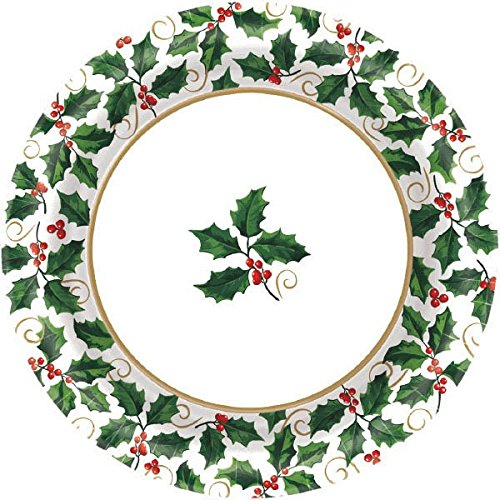 "Medium Seasonal Holly Paper Plates Christmas Party Disposable Party Value Tableware (40 Pieces), Green, 8 1/2""."