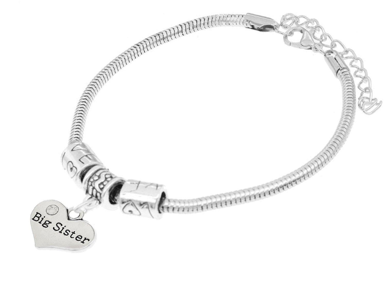 "Luvalti ""Big Sister"" Charm Bracelets | Adorable Big Sister Heart Bracelet | Best Family Jewelry Gift"