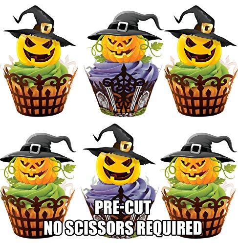 Lot de 12 chapeaux de sorcière pour Halloween citrouille carte en Papier comestible prédécoupé pour décorations de gâteau avec support de fixation (7 - 10 BUSINESS DAYS DELIVERY FROM (Citrouille En Papier Halloween)