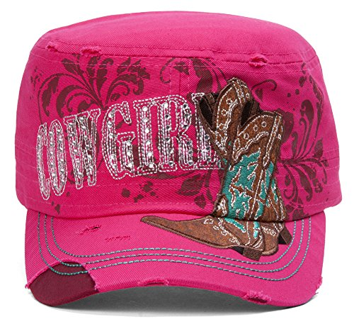 TopHeadwear Cowgirl Boots Distressed Cadet Cap - Hot Pink ()