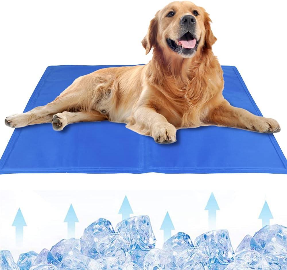 MMTX Alfombrilla Refrigeración para Perro Esterilla Refrigerante Mascotas No tóxico Autoenfriamiento Refrigerante Alfombra de Gel para Perros Gatos Dormir Computadora Portátil Almohadas Verano Azul