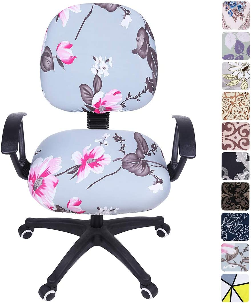 smiry Stretch Print Computer Office Chair Cover, Removable Washable Universal Desk Rotating Chair Slipcover, Pink Flower