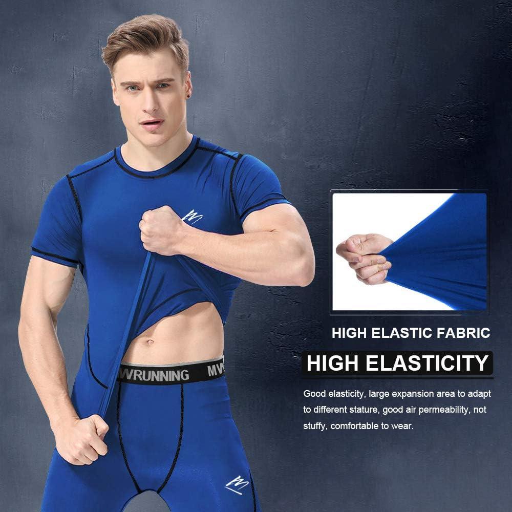 MEETEU Sport Shirt Men Cool Dry 3//4 Leggings Compression Pants Tights Base Layer T-Shirts Underwear Set
