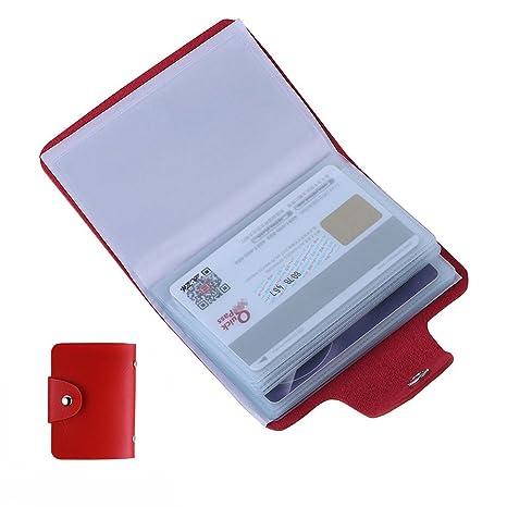 Enjoygoeu Kartentasche Leder Kreditkartenetui Kreditkartenhüllen Kartenetui Für Damen Und Herren Kartenmappe Visitenkartenetui Für 24 Karten Rot