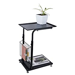 Vencer Height Adjustable Feet Sofa side table Console table with storage Black