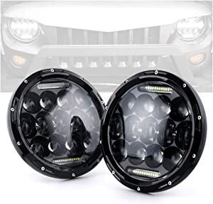 "Xprite 7"" Inch 75W CREE LED Headlights for Jeep Wrangler JK TJ LJ 1997-2018, with Daytime Running Light (DRL) Round Hi/Lo Beam Headlamp, DOT Approved"