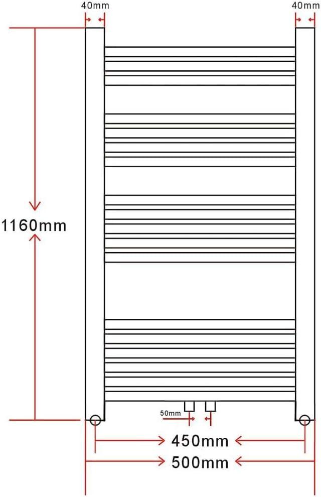 500x1732mm 705 W UnfadeMemory Badheizk/örper mit Handtuchhalter Handtuchheizk/örper Stahl Handtuchtrockner Seiten-//Mittelanschluss Gebogen Stil Wandmontage Mehrzweck f/ür Badezimmer