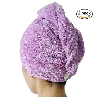 Toallas de microfibra de suave Twist pelo turbante, 2 unidades, rápido secado Cap gran regalo para Navidad: Amazon.es: Hogar