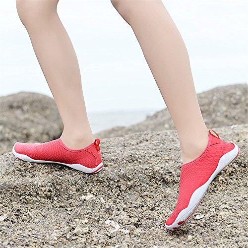 Männer und Frauen Barfuß Quick-Dry Wasser Schuhe Sport Aqua Durable Outsole Schuhe für Schwimmen Walking Yoga See Beach Garden Park Fahren Bootfahren Slip-On Skin Surf Sneakers 1768-1red