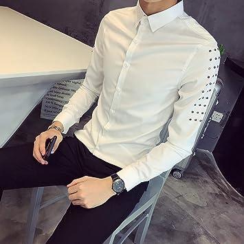 MKDLJY Camisas Nueva Camisa de los Hombres Remache decoración Coreano Slim Fit de Manga Larga Esmoquin Ocasional del Club Nocturno Vestido de Fiesta Camisas Hombre Camisa Masculina: Amazon.es: Deportes y aire libre