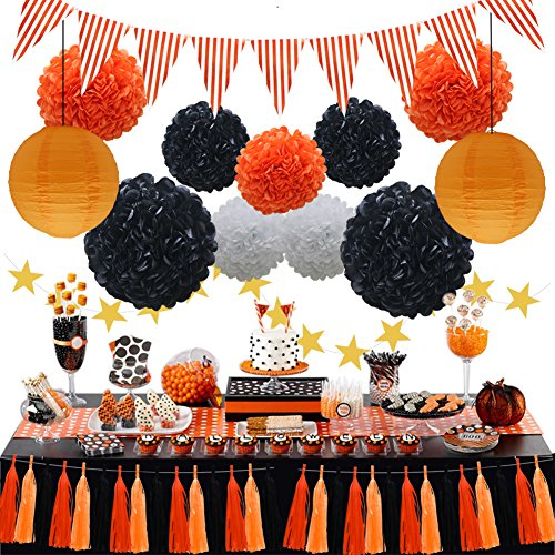 Halloween Party Decorations Supplies Kit, Paper Lanterns, Tassels Hanging Garland Banner, Tissue Pom Poms Flowers, Triangle Flag Bunting for Baby Showers Bridal Birthday Wedding (Orange, Black, White) -