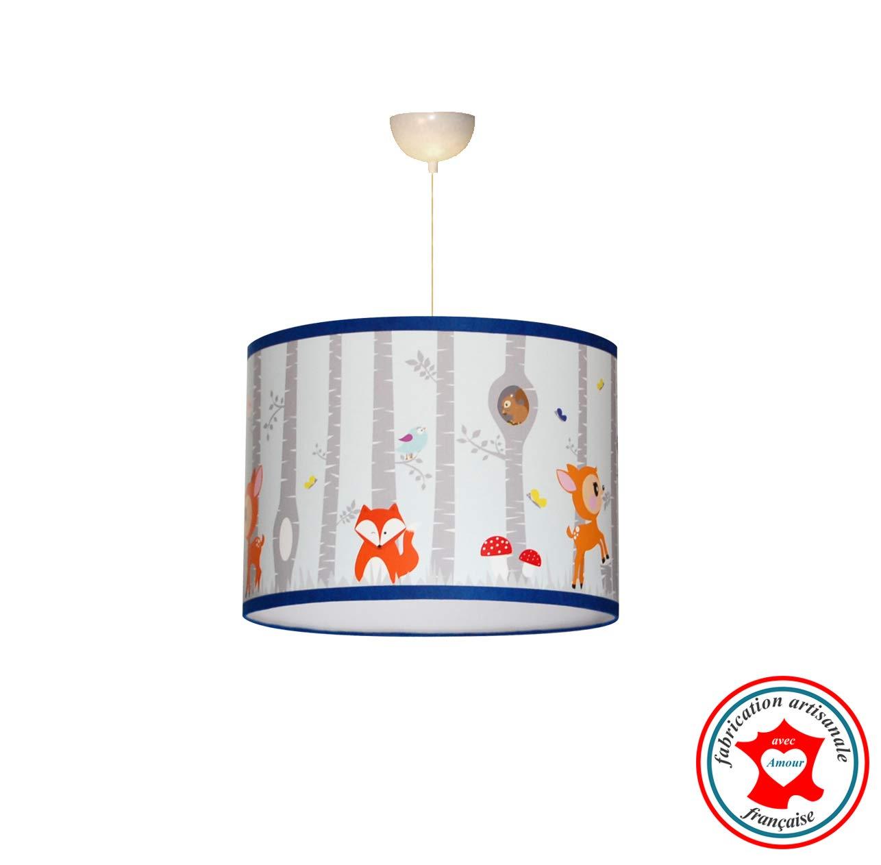 Suspension garçon'Forêt de bouleau et petits animaux', lampe garçon, thème animaux de la forêt, déco chambre garçon, décoration renard