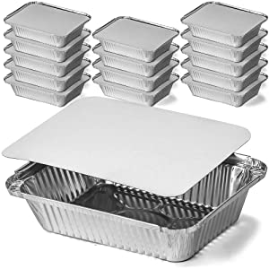 DecorRack 2 1/4 Lb. Aluminum Pan with Flat Board Lid, Heavy Duty Rectangular Tin Foil Pans, Perfect for Reheating, Baking, Roasting, Meal Prep, to-Go Containers, Environmentally Friendly (Pack of 14)