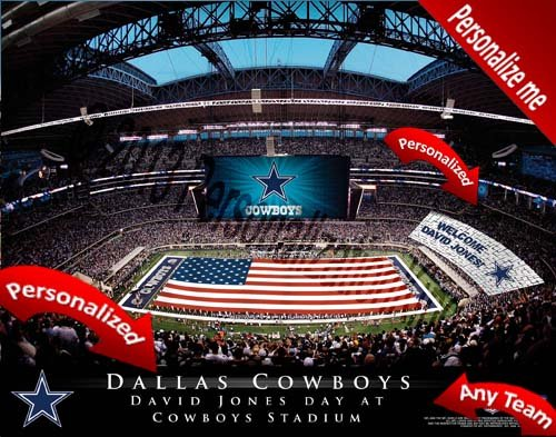 Dallas Cowboys Team Stadium Print - Personalized Officially Licensed NFL - Print Stadium Personalized