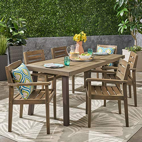 Avalon Patio Furniture - Great Deal Furniture Avalon Patio Dining Set | 6-Seater | Acacia Wood | Rectangular Dining Table | Gray Finish with Rustic Metal Table Legs