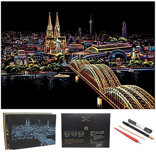 (BOTEEN Scratch Art Paper Rainbow Painting Sketch City Series Night Scene, Scratch Painting Creative Gift, Scratchboard for Adult and Kids,Size 11'''x16'' with 4 Tools)