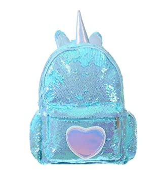 6eac57cba5c8 Pizoff Reversible Sequin Backpack for Girl Boys Sparkly Lightweight Unicorn  School Backpack AM004-24