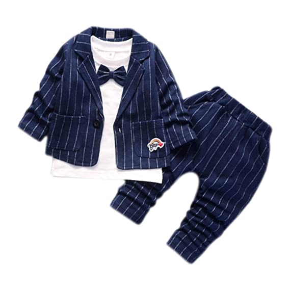 5fb56d38d5d3 Mummamia Boys Rainbow Striped Blazer Suit Set with Attached Bowtie ...
