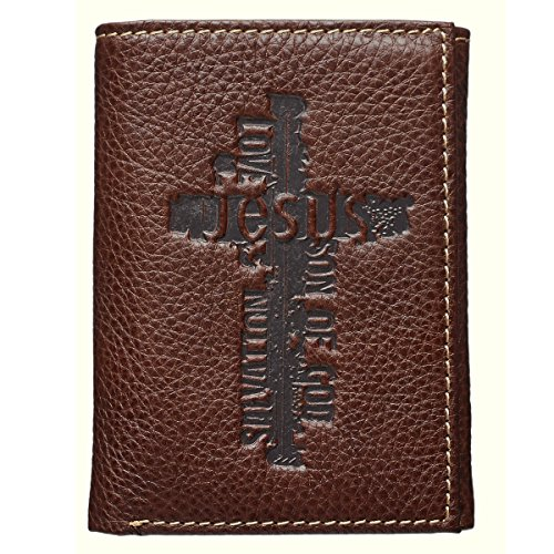 Brown Genuine Leather Tri-Fold Wallet w/Cross ()