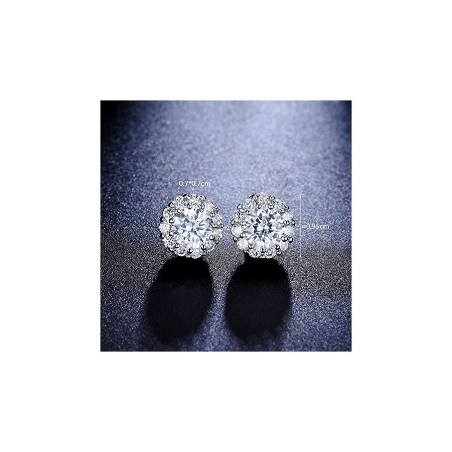 DIFINES Redbarry Flower Cluster 1.25ct Cubic Zirconia Halo Wedding Bridal Stud Earrings