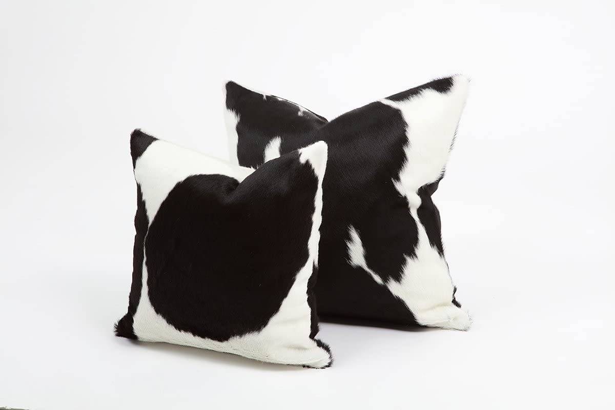 Black & White Genuine Cowhide Pillow Cover - 16x16 Inches or 20x20 Inches (16x16)