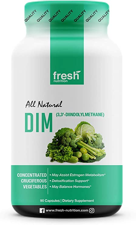 DIM Supplement 500mg - DIM Diindolylmethane - All Natural Estrogen & Hormone Balance Supplement Great for Detox, Menopause Relief, Acne, PCOS, Weight Loss & Bodybuilding – Vegan Friendly