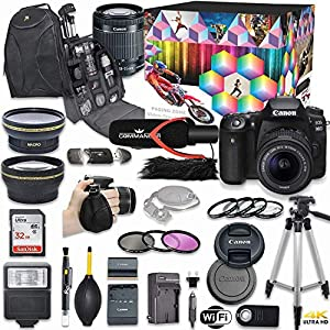 Canon EOS 90D DSLR Camera Deluxe Video Kit with Canon EF-S 18-55mm f/3.5-5.6 is STM Lens + Commander Pro Microphone…
