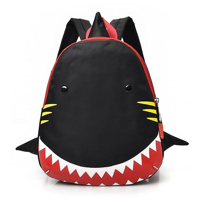 d93e595c53 YOURNELO Kids Cute Shark Oxford Cloth Shoulders Backpack School Bag (Black)