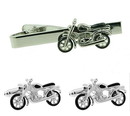 ASPG Gemelos y pinza para corbata, diseño de moto 2.: Amazon.es ...