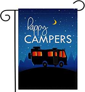 Ogiselestyle Happy Campers Garden Flag 12.5x18 Inches Small Vertical Double Sided Rustic Camping Trailer Burlap Yard Outdoor Décor
