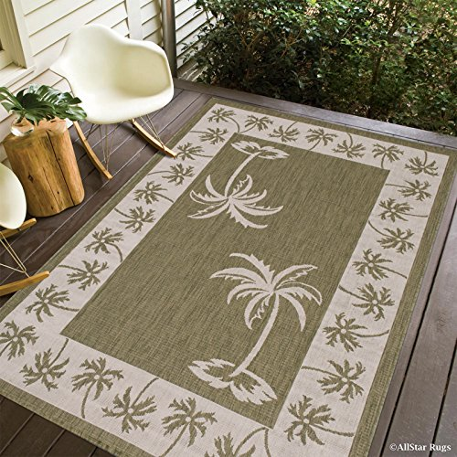 Allstar 5 X 7 Sage Green with Ivory Indoor Outdoor With Palm Tree Patterns Area Rug (5' X 7') (Pattern Tree Palm)