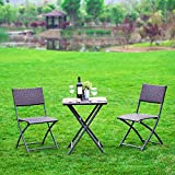 Cheap NatureFun Outdoor Balcony Foldable Bistro Furniture Sets, Wood-Like Resin Rattan, Rust-Proof Steel Frames, 3-Piece of Foldable Table and Chairs