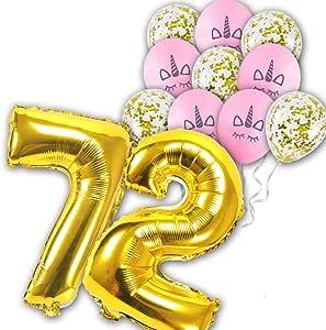 12 pcs/set 72th Unicorn Theme pink Latex balloons gold confetti balloon for Wedding Birthday Party Decoration Kids Rainbow Balloons Unicorn Party Supplies