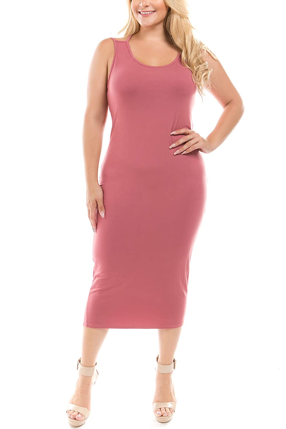 60868b48dbd11 Women s junior plus size sleeveless solid body contouring midi length dress  with back details. Available sizes  1X