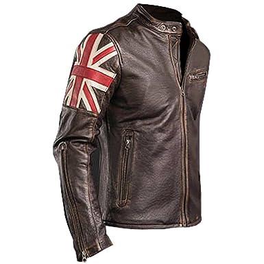Mens Biker Vintage Motorcycle Cafe Racer Brown Real Leather Jacket