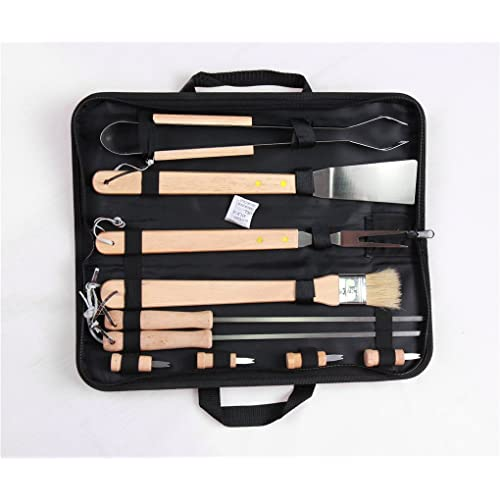 Holzsammlung® Premium 10 Pieces Stainless Steel BBQ Set with Portable Fabric Storage Case #3 - Heavy Duty Professional Outdoor Barbecue Grill Tool Accessories Kit - Perfect Christmas Gifts Idea