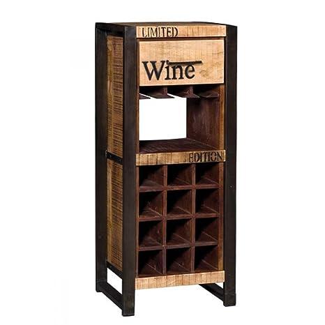Botellero industrial Wine de madera natural maciza con estructura de hierro. Mobile compuesto de 1 cajón, ...