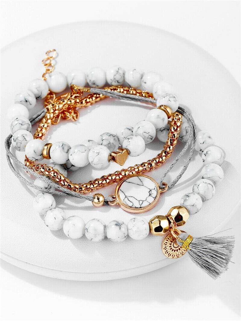 4Pcs Fashion Marble Beads Tassel Handmade Bohemian Charm Bracelets Set Jewelry