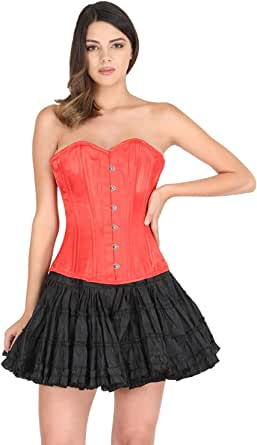 Red Satin Corset Gothic Burlesque Costume Halloween Overbust Spiral Steel Boned