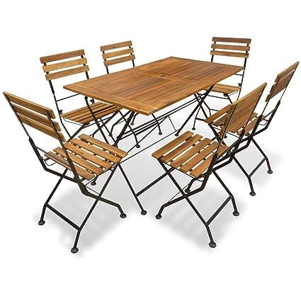 Tavoli Da Pranzo Per Esterni.Festnight Set Da Pranzo Per Esterni Tavolo Da Giardino Con Sedie 7