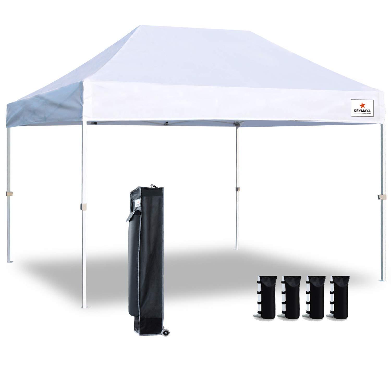 Keymaya 10'x15' Ez Commercial Instant Tent Heavy Duty Pop-up Canopy Shelter Bonus Weight Bag 4-pc Pack (White)