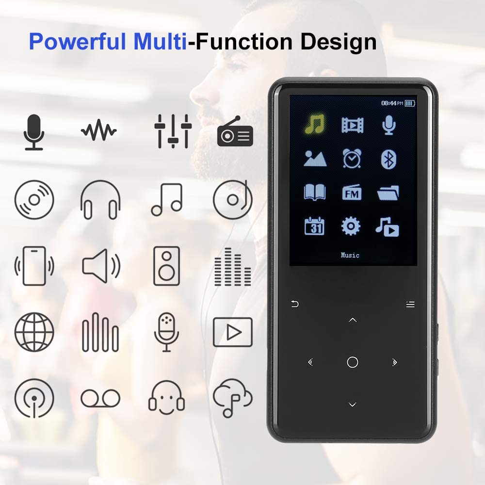 FM Radio Voice Recorder MP4 Video Player with 2.4/'/' Screen E-Book Reader MP3 Player with Bluetooth 16GB Support TF-Card up to 128GB Mbuynow HiFi Music/Player with Speaker Touch Buttons