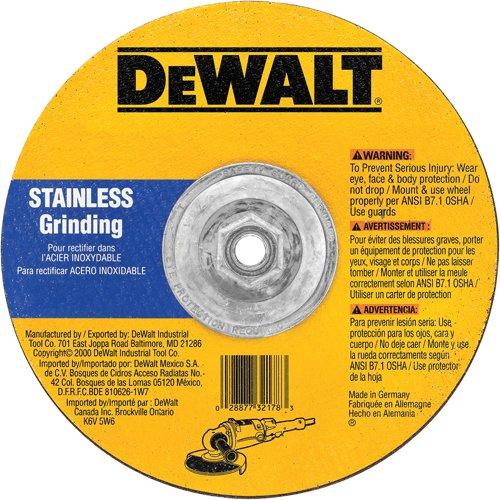 DEWALT DW8465H 6-Inch by 1/4-Inch T27 Stainless Steel Cutting/Grinding Wheel, 5/8-11 (Dewalt Stainless Steel Grinding Wheel)