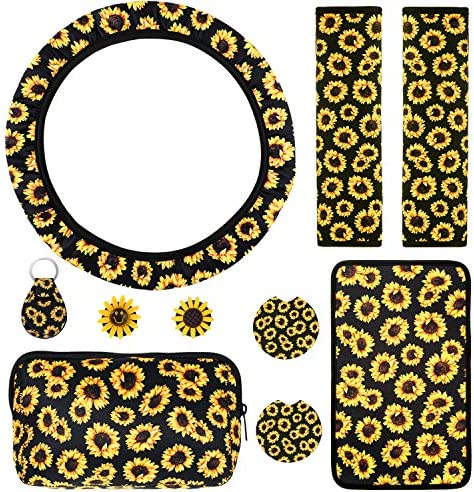 10 Pieces Universal Sunflower Car Accessories Set, Steering Wheel Cover, Seat Belt Covers, Center Console Armrest Cover Pad, Cosmetic Bag, Cup Holder Coaster, Air Vent Clips, Sunflowers Keyring