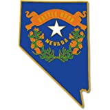 PinMart's State Shape of Nevada and Nevada Flag Lapel Pin