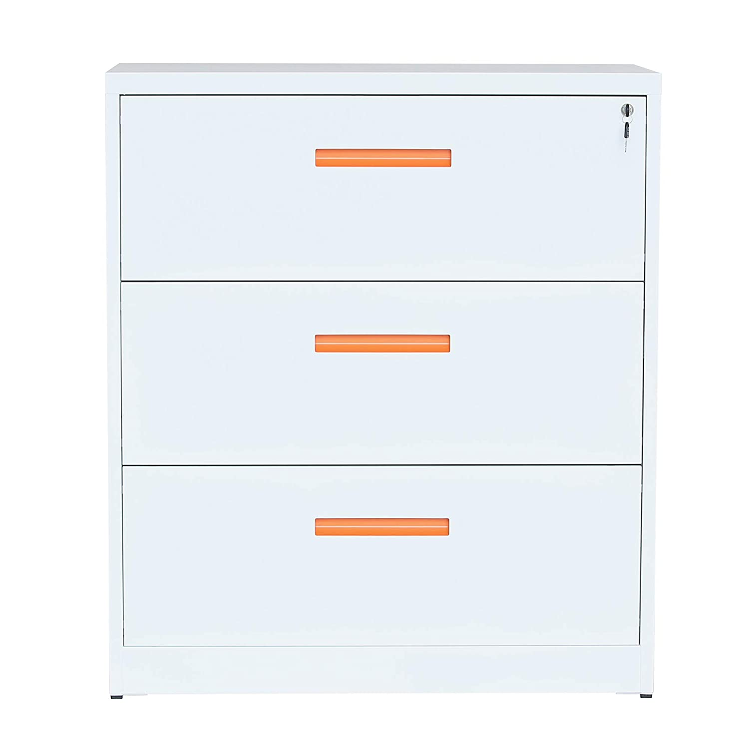ModernLuxe Metal Lateral File Cabinet with Lock (Orange-White, 35.4W×28.4H×17.7D: 2-Drawers)