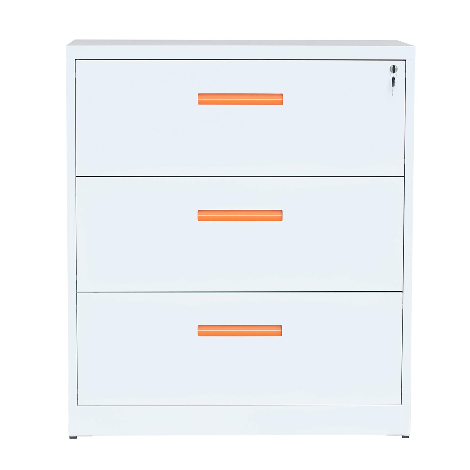 ModernLuxe Lateral File Cabinet with Lock, 3 Drawer Filing Cabinet for Office Home, White, Metal