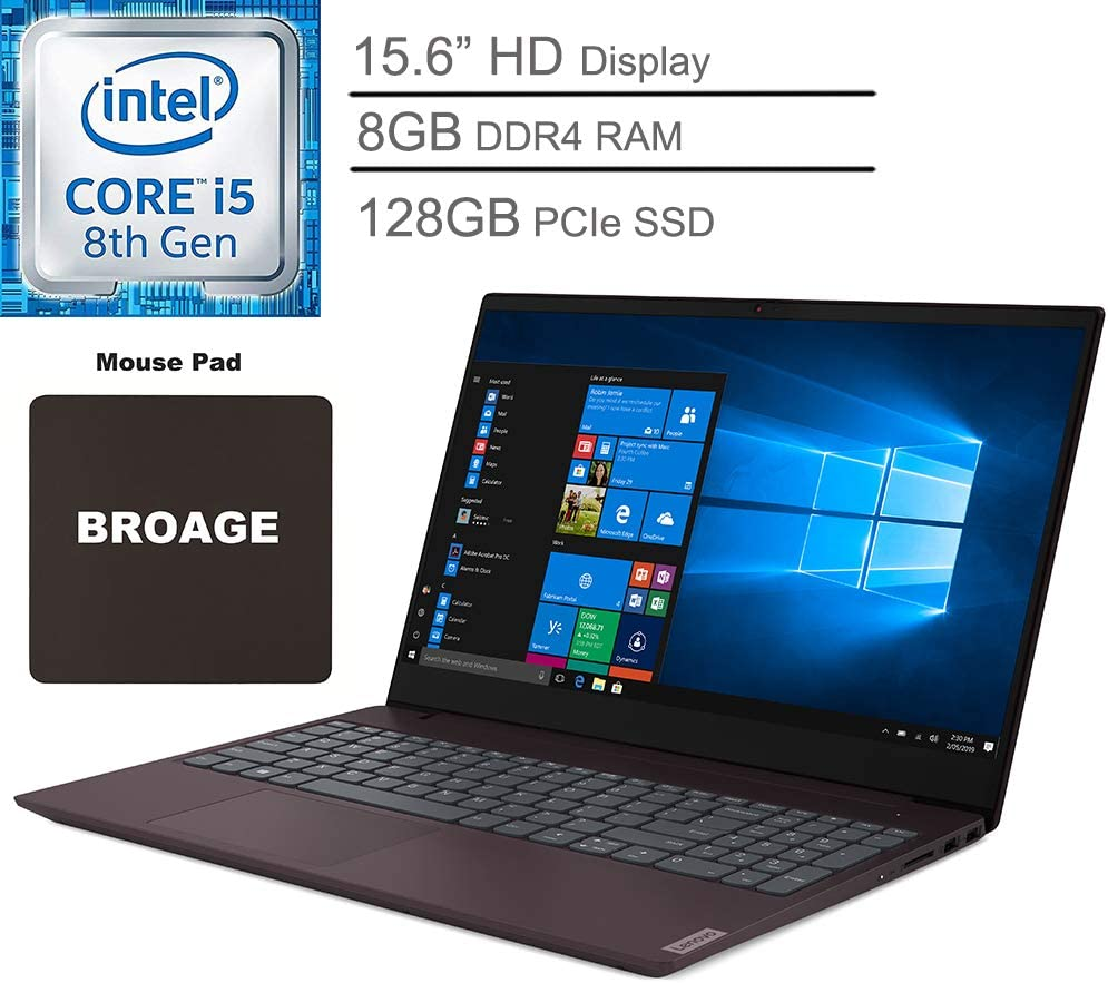 "Lenovo IdeaPad S340 15.6"" Laptop Computer_ Intel Quad-Core i5-8265U Up to 3.9GHz (Beats i7-7500U)_ 8GB DDR4 RAM, 128GB PCIe SSD, 802.11AC WiFi, Bluetooth 4.1_ Dark Orchid_ Windows 10_ BROAGE Mouse Pad"